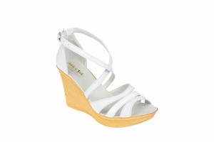 Sandale albe dama din piele naturala cu platforme de 9 cm - ELY03A