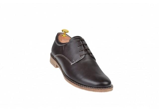 Pantofi barbati casual din piele naturala maro, box PAMBOX