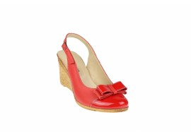 Oferta marimea 39 Pantofi dama rosii din piele naturala, cu platforme de 7cm LS100RR