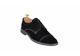 Oferta marimea 39 Pantofi negri casual - eleganti barbatesti din piele intoarsa cu siret - LPASN