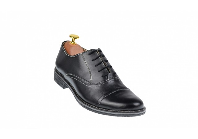 Pantofi barbati casual din piele naturala neagra P32NBOX