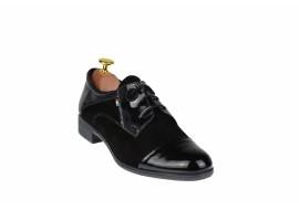 Oferta marimea 40 Pantofi dama negri casual din piele naturala lac+velur LROV650LACVELN