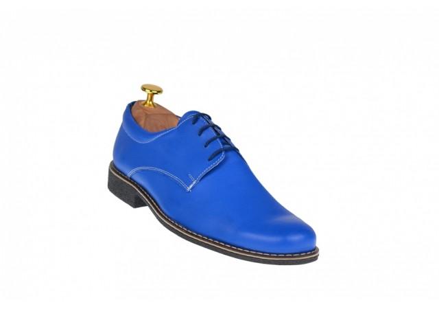 Pantofi barbati casual - eleganti din piele naturala albastra P80ALBASTRU