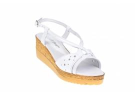 Oferta marimea 39 Sandale dama din piele naturala, cu platforme de 5cm - S36ALB