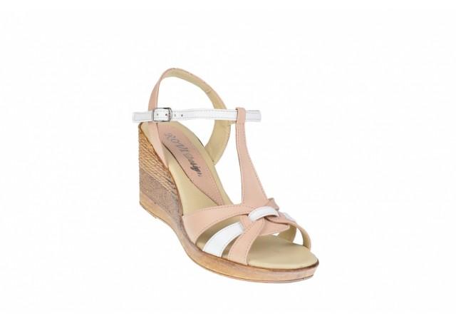 Oferta marimea 39 -  Sandale dama, din piele naturala, cu platforma de 8cm - LS51BEJA