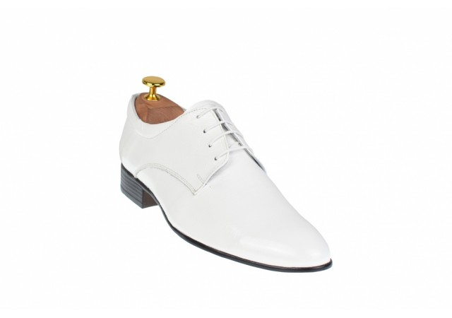 Pantofi barbati eleganti din piele naturala usor creponata, alb lac - PAALB