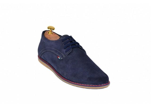 Pantofi barbati sport - casual din piele naturala bleumarin TENVEL338BLU