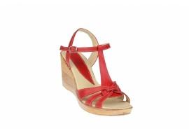 Sandale dama din piele naturala cu platforme - S51ROSU