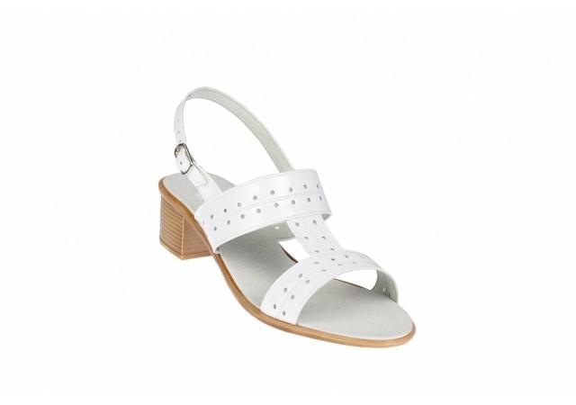 Sandale dama albe, din piele naturala lacuita S7LALB
