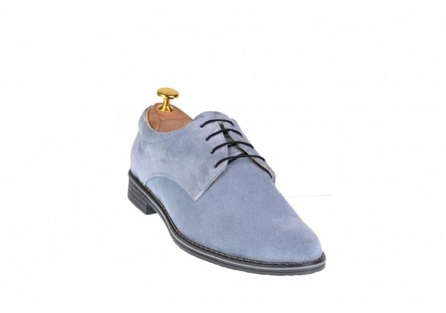 Oferta marimea 43 - Pantofi barbati casual din piele naturala intoarsa - LPA2GRI