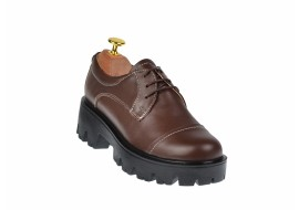 Pantofi dama casual din piele naturala maro - P11M