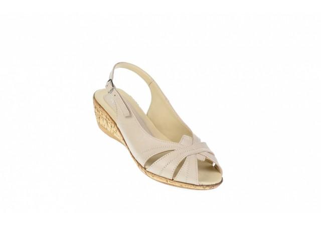 Sandale dama bej din piele naturala, cu platforme de 5cm - S52B