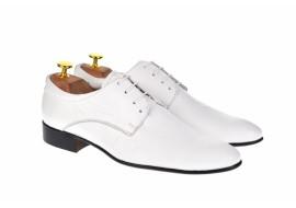 Marimea 42 Pantofi noi 100%, cu defect, albi, barbati, eleganti, din piele naturala - L2ENZO42CLASSALB