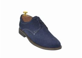 Pantofi barbati casual, eleganti din piele naturala intoarsa bleumarin - PAVELBLM2
