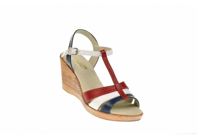 Sandale dama din piele naturala, bleumarin, alb, rosu - NA134RAI
