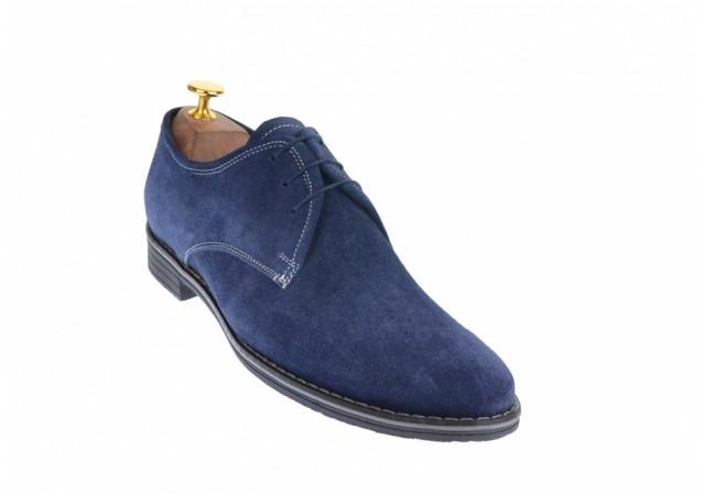 Pantofi barbati casual din piele naturala, culoare bleumarin 336BLM