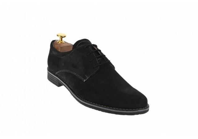 Pantofi barbati casual, piele naturala intoarsa, negru - PAVELN