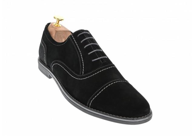 Oferta marimea 43 Pantofi negri barbati casual - eleganti din piele naturala intoarsa - L334N