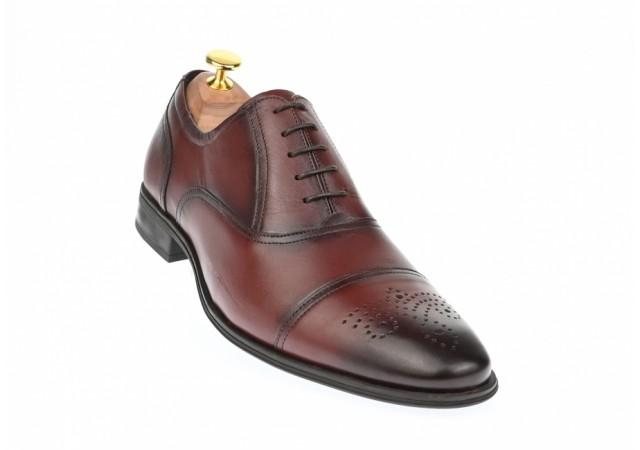 Oferta marimea 42, 43, 44 Pantofi barbati casual din piele naturala box, visiniu- L356VIS