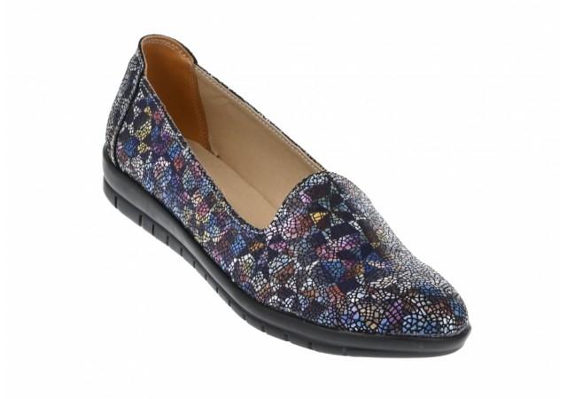 Pantofi dama casual din piele naturala, bleumarin cu mozaic colorat  - B511BLM