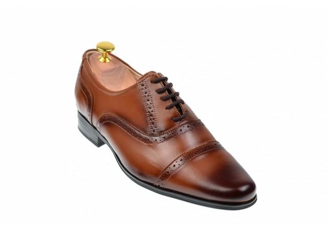 Oferta marimea 38 - Pantofi eleganti, oxford din piele naturala maro - L894MD