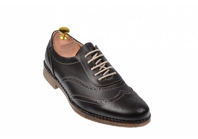 Pantofi barbati oxford, eleganti din piele naturala maro - 870MBOX