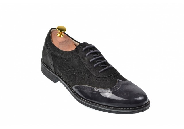 Pantofi barbati casual - eleganti din piele naturala gri, cu varf lacuit 870LVG