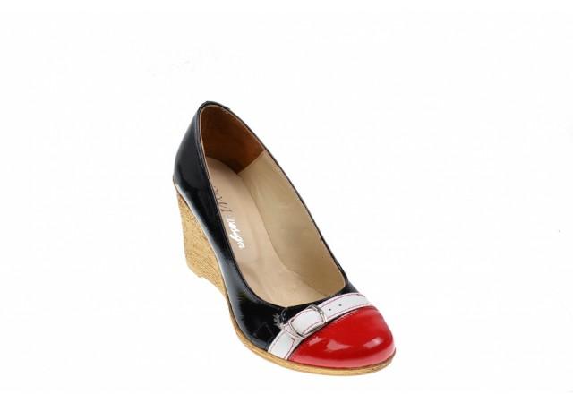 Lichidare marimea 35, 36, 37  Pantofi dama piele naturala cu platforma, casual - Made in Romania LPTEARAN