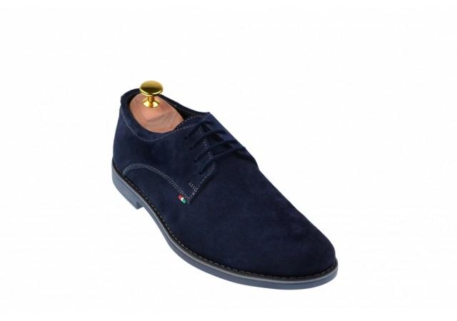 Pantofi barbati casual din piele naturala intoarsa, bleumarin 855VELBLM