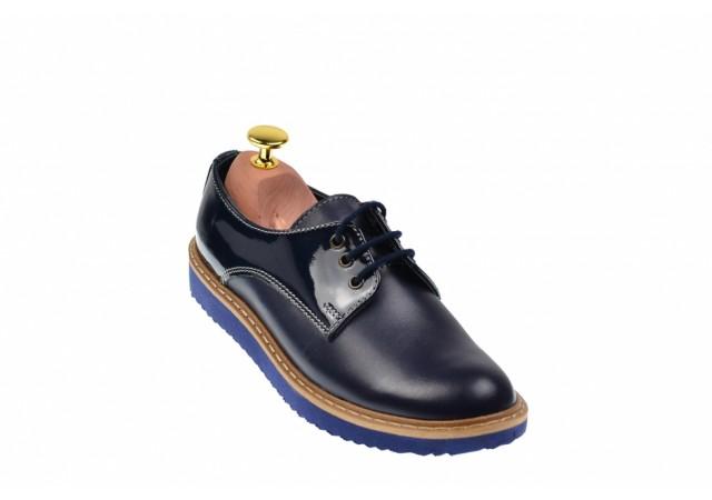 Oferta marimea 36, 39, 40, Pantofi dama casual din piele naturala box - L140ALBASTRULB