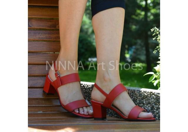 Sandale dama, din piele naturala, rosii, cu toc de 6cm - NAA59ROSU