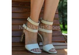 Sandale dama crem-color, din piele naturala toc 9cm - NAA57CREM
