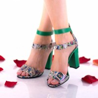 Oferta marimea 39 Sandale dama din piele naturala, verde-color cu toc de 10cm - LNAA57VERDE