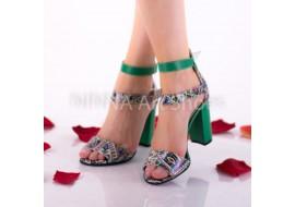 Sandale dama din piele naturala, verde-color cu toc de 9cm - NAA57VERDE