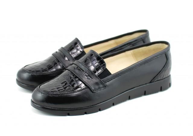Pantofi dama casual din piele naturala, foarte comozi - P105NCROCO