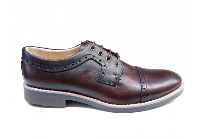 Pantofi barbati casual din piele naturala bordo
