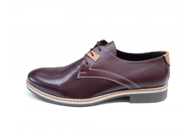 Pantofi barbati casual din piele naturala bordo RSY23CAS