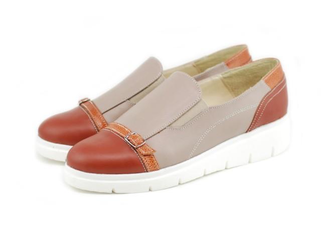 Pantofi dama casual din piele naturala, cu platforme - P103MBEJ