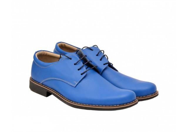 Pantofi albastri barbati casual - eleganti din piele naturala Cod: P81BLX