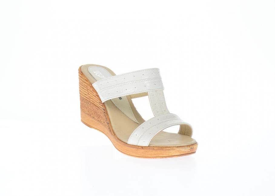 Papuci dama de vara din piele naturala cu platforme de 7cm - PAPUCHALB