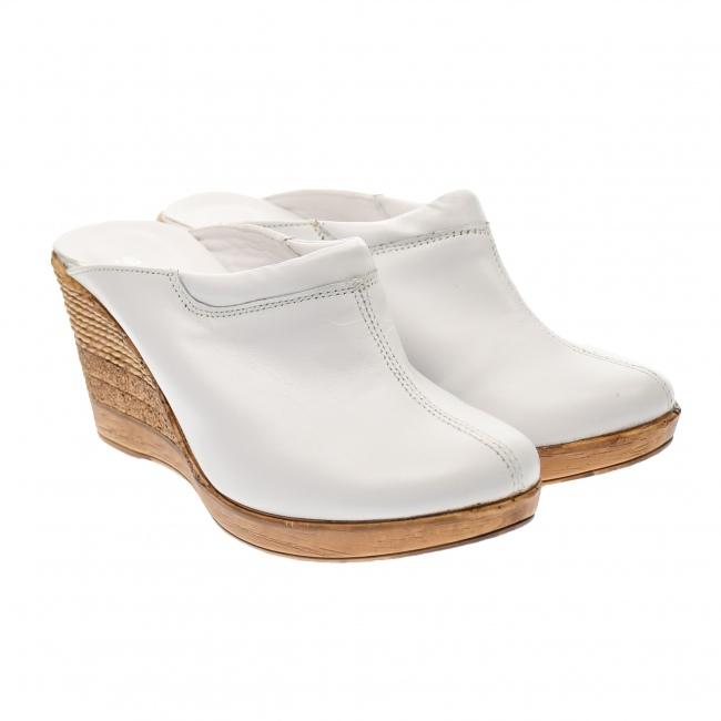 Saboti dama albi din piele naturala, platforme de 7 cm - TEA19ALB