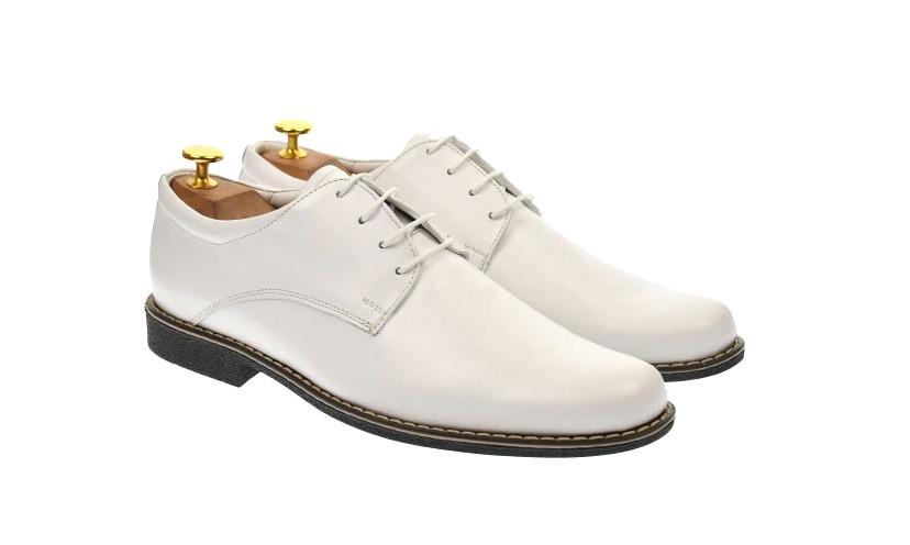 Pantofi albi pentru barbati casual din piele naturala - PAABOX