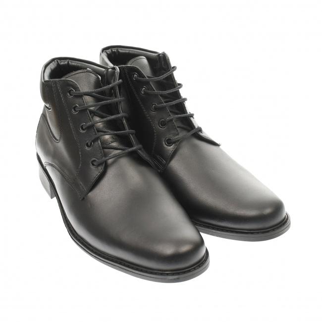 Ghete barbati negre din piele naturala casual, elegante, Made in Romania - GB33N