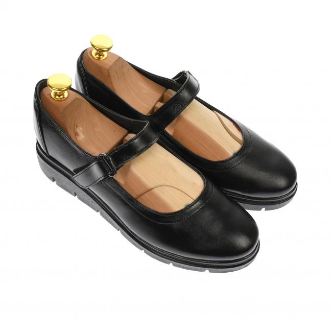 Pantofi cu talpa ortopedica din piele naturala, negru - P38N