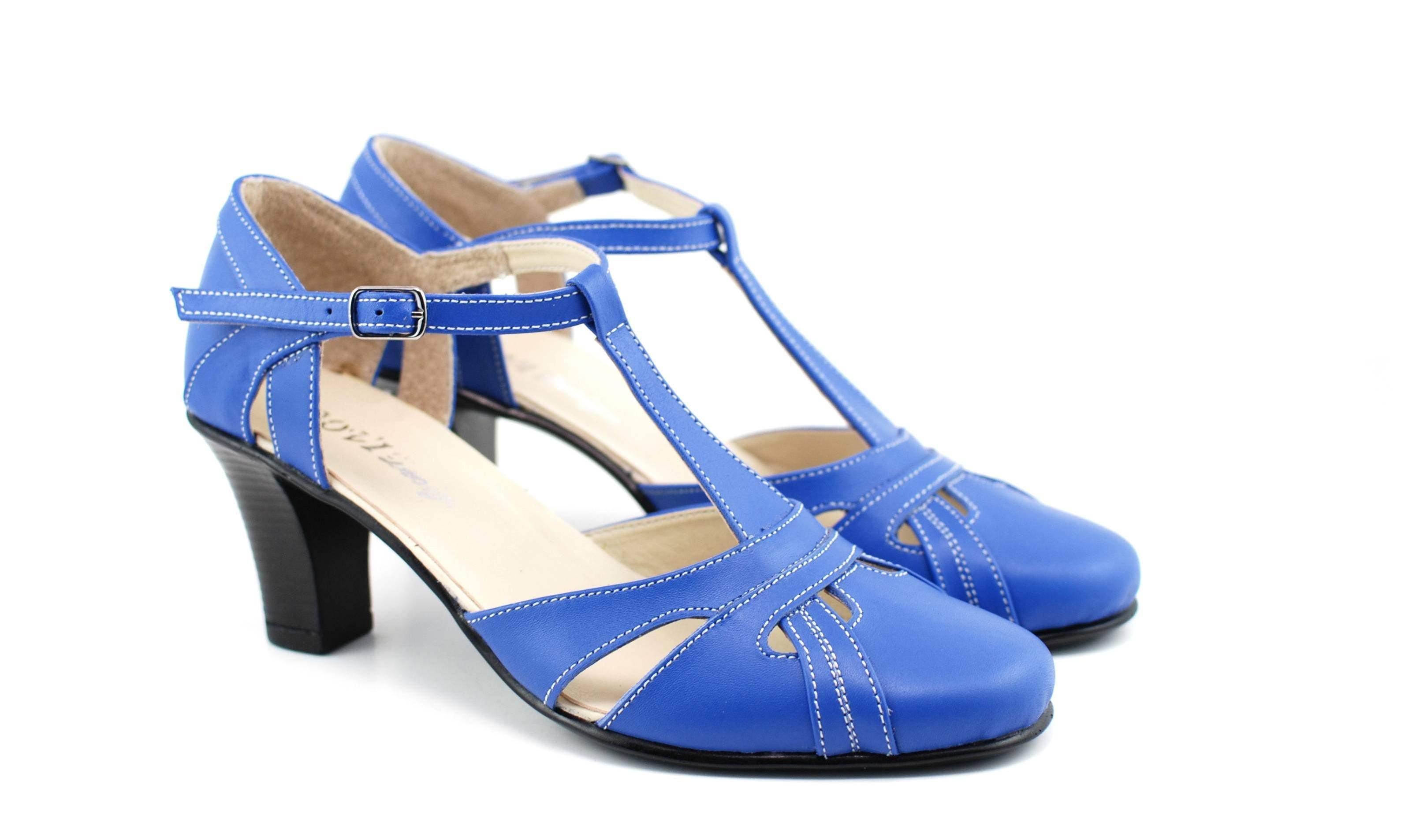Sandale dama din piele naturala cu toc de 7cm - S48BLEU