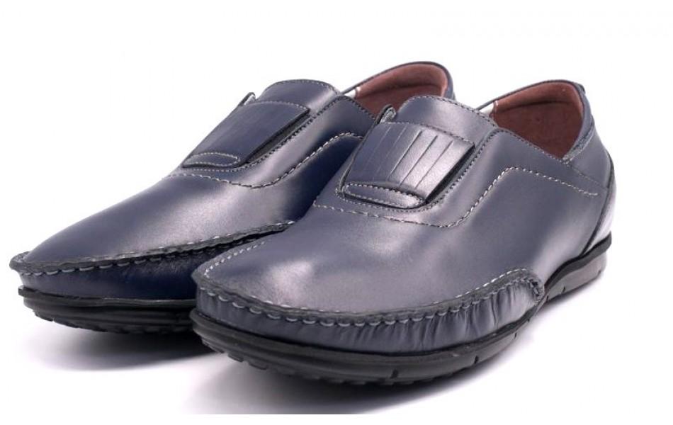 Mocasini din piele naturala, pentru barbati,culoare bleu VIC2030