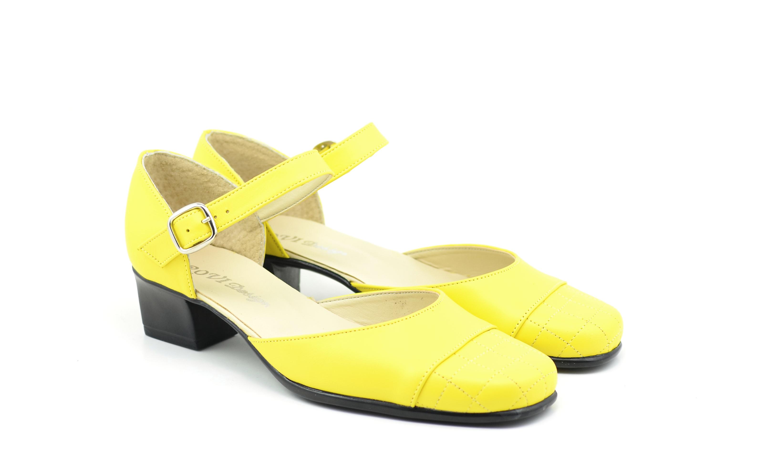 Sandale dama galbene din piele naturala - STEFY G