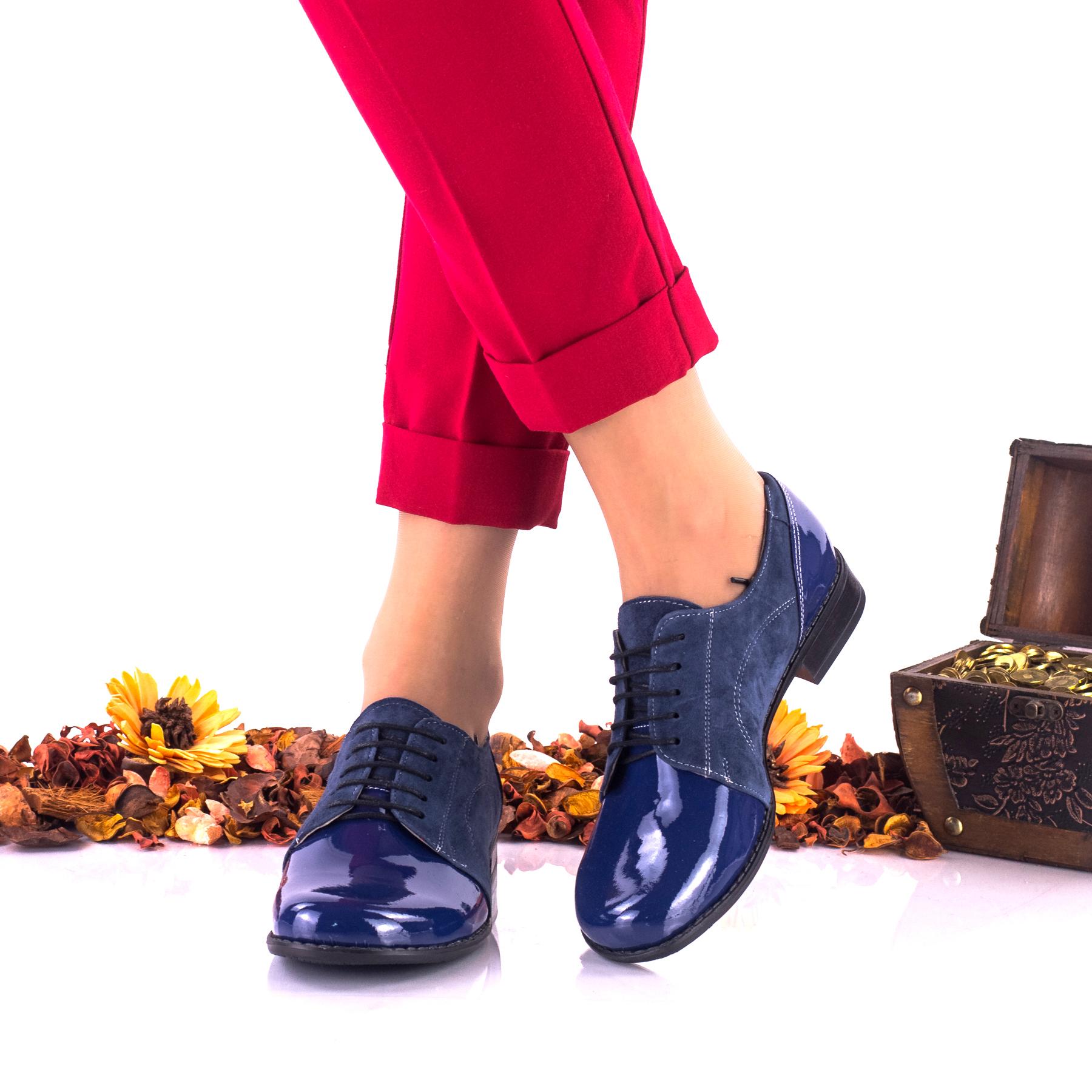 Pantofi dama din piele intoarsa, indigo , si piele lacuita - NA150E