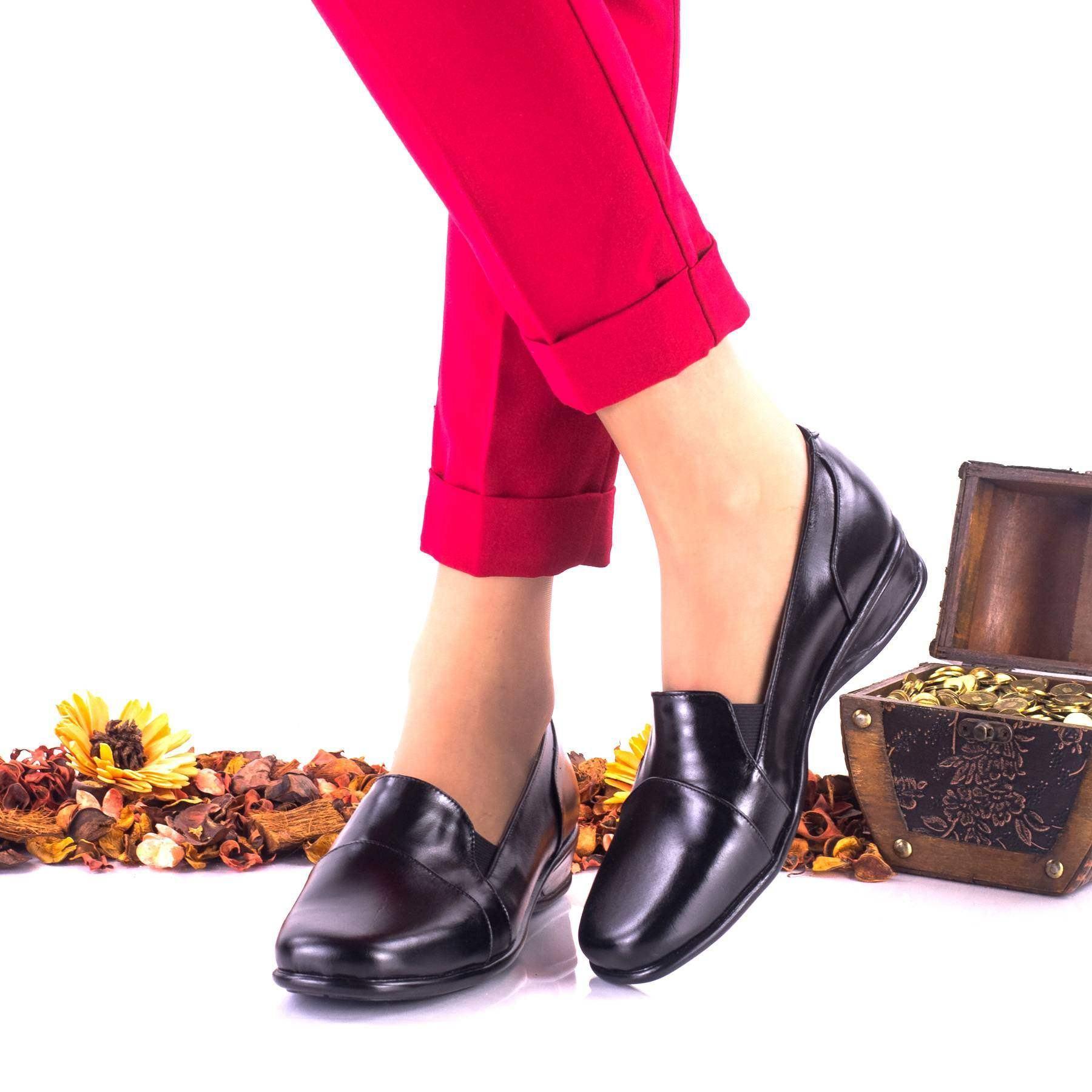Pantofi dama negri, casual din piele naturala cu talpa ortopedica NA42