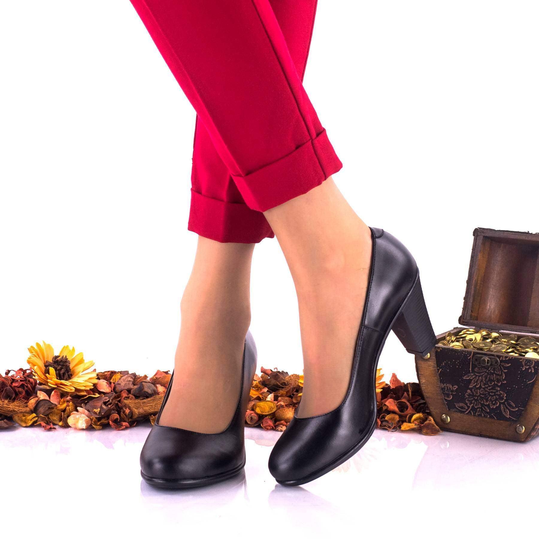 Pantofi dama negri, casual din piele naturala NABVS1